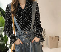Блуза шовкова чорна в горошок, фото 3