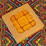 Подарочный набор квадратных чайных восковых свечей (9шт.) в коробке Синий Снег, фото 2
