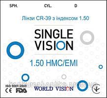 Линзы для очков полимерные CR-39 1.50 HMC+EMI World Vision