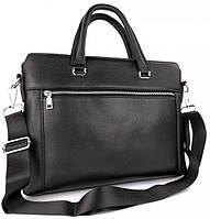 Класична чоловіча ділова сумка з натуральної шкіри Tiding Bag Чорний портфель для ноутбука