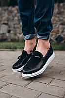Туфли лоферы мужские кожаные весенние осенние LOF черные | Туфли повседневные ЛЮКС качества