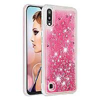 Чехол Glitter для Samsung Galaxy M10 / M105 бампер Жидкий блеск сердце Розовый