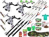Набор рыболовных снастей, Удочки,спиннинги, карповики,Набор для рыбалки, удочку с катушкой, набор рыбака!