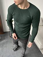 Кофта мужская весенняя вязанная Bright хаки крупной вязки | Свитер мужской тонкий весенний демисезонный ЛЮКС, фото 1