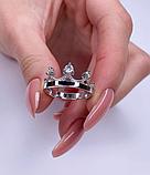 Колечко з золотом і білими фіанітами в сріблі Монархія, фото 5