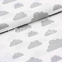 Бязь Облачка серые на белом
