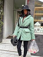 Жіноча трендова річ весни - утеплений піджак в стилі Pr@da з відкладним коміром під ремінь, фото 1