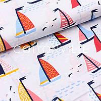 Хлопковая ткань Кораблики на сером