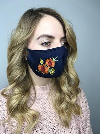 Врослая защитная маска трикотажная Цветы, фото 2