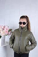 Куртка демисезонная подростковая ЭКО кожа ХИТ для девочки 9-14 лет.цвет хаки