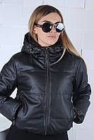 Куртка демісезонна молодіжна ЕКО шкіра для дівчат розміри 46-54,чорного кольору, фото 1