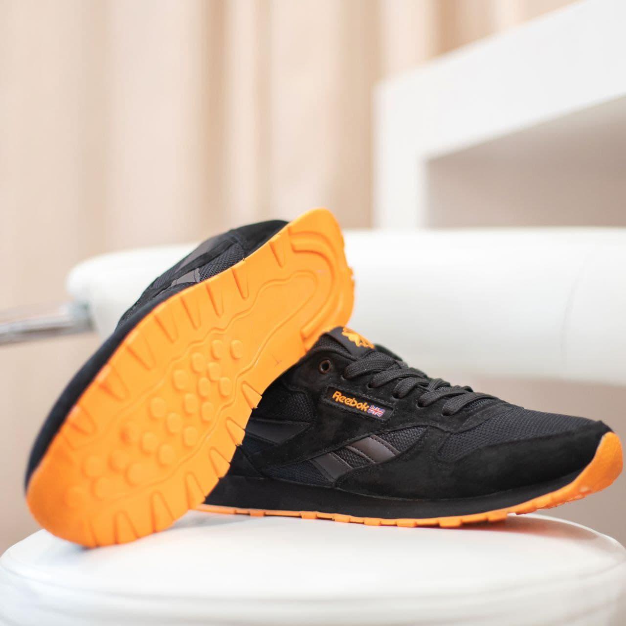 Кроссовки Reebok Classic Черные с оранжевым весна/осень  41 | 42 | 43 | 44 | 45