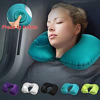 Надувная подушка рогалик для шеи с насосом