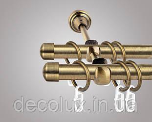Карниз для штор двухрядный металлический 19 мм, Заглушки (комплект) Антик