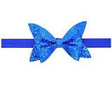 Повязка с бантиком для девочки от 0 до 5 лет синяя блестящая, фото 2