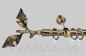 Карниз для штор однорядный металлический 19 мм (комплект) Лист Розы