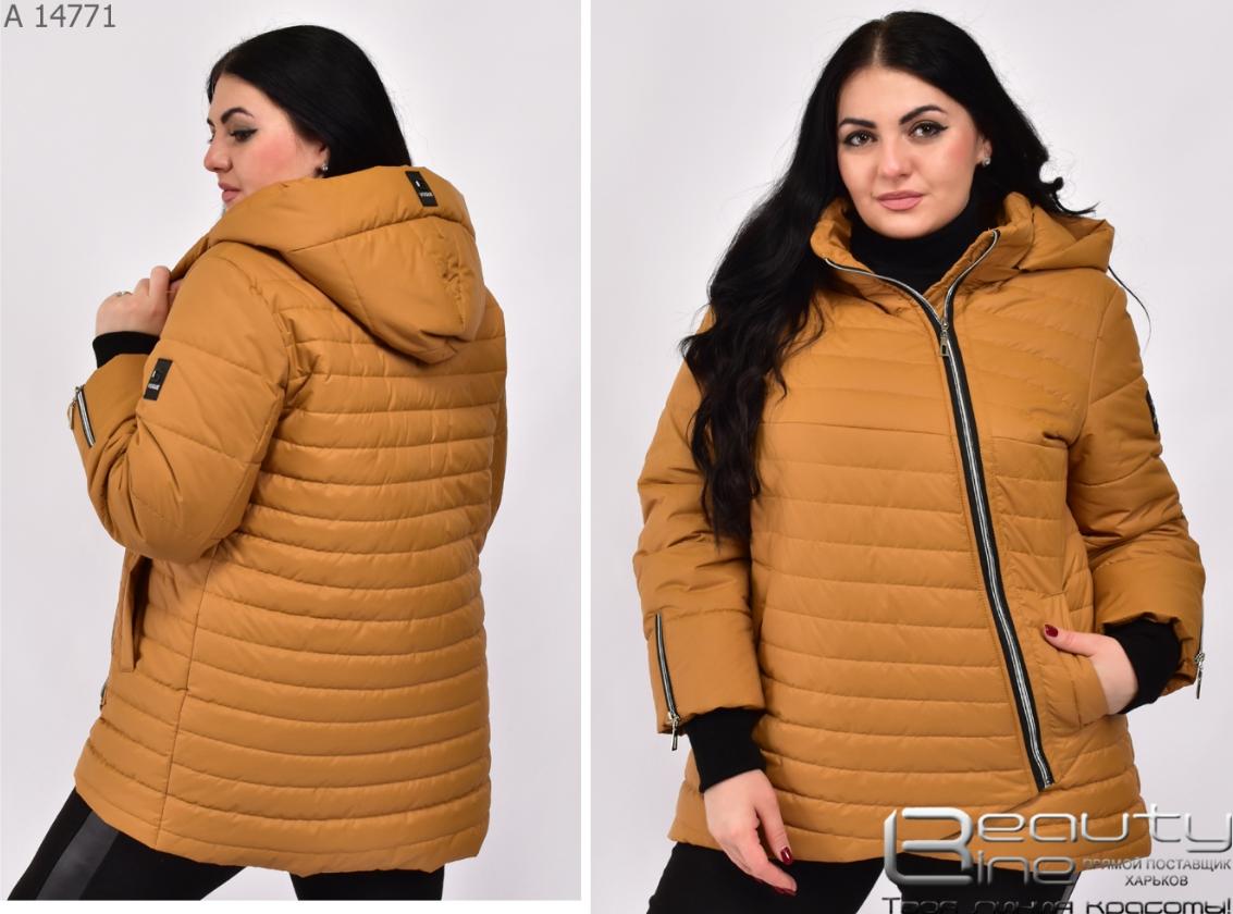 Демисезонная женская куртка цвет горчица большой размер Размеры: 48.50.52.54.