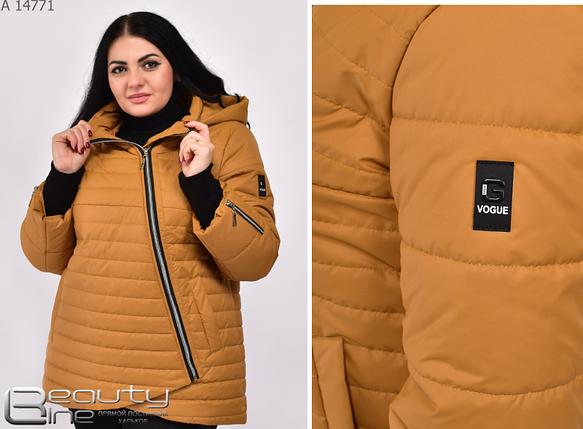 Демисезонная женская куртка цвет горчица большой размер Размеры: 48.50.52.54., фото 2