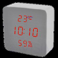 Електронні настільні годинники-будильник Led Wood Clock VST-872S-3 - годинник з індикатором вологості і
