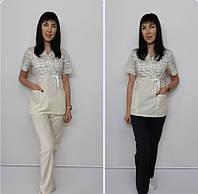 Жіночий медичний костюм принт Сакура-комбі Болонки білі короткий рукав, фото 1