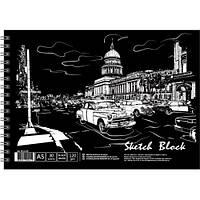 Альбом для рисования А5 30 листов на спирали, чёрная бумага
