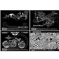 Альбом для рисования А4 30 листов на спирали, чёрная бумага