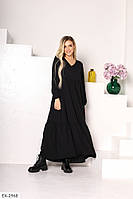 Длинное легкое платье свободного кроя с длинными рукавами р-ры 42-44,46-48 арт 15313