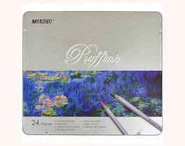 Набор цветных карандашей Marco Raffine,24 цветов в металлический пенал 7100-24TN