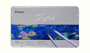 Набір кольорових олівців Marco Raffine 12 кольорів в металевому пеналі 7100-12TN