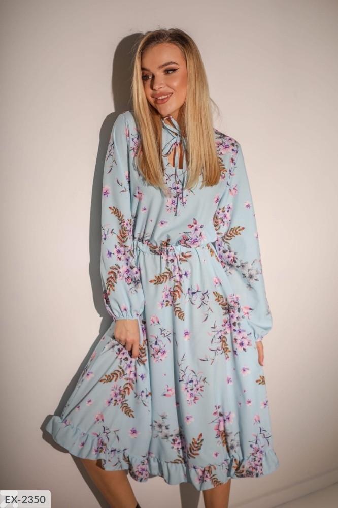 Шелковое красивое женское платье клеш по колено с резинкой на талии арт 593
