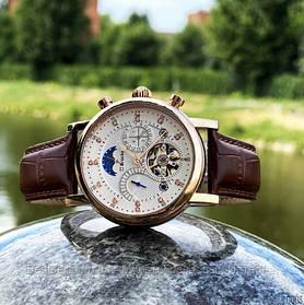 Оригінальні Чоловічі Наручні годинники механіка з автопідзаводом Brucke J025 Brown-Silver-White / шкіряний ремінець