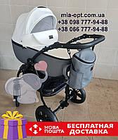 Детская коляска 2 в 1 Classik (Классик) Victoria Gold эко кожа серая с белым