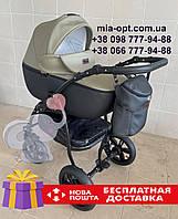 Детская коляска 2 в 1 Classik (Классик) Victoria Gold эко кожа черная-хаки