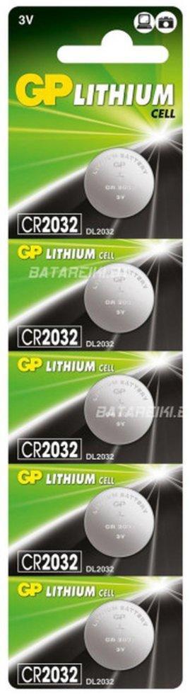 Набір літієвих батарей Panasonic, GP CR2032 (3V), 5шт