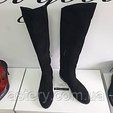 Женские черные замшевые сапоги на низком ходу