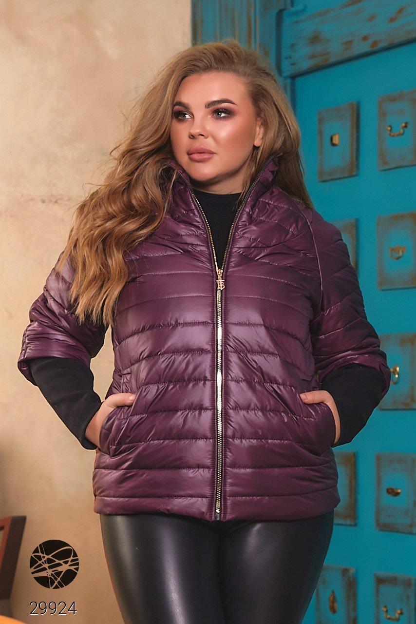 Модна стьобаний куртка на блискавці з рукавами реглан з 50 по 64 розмір
