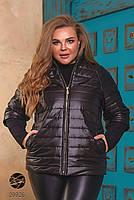 Модна стьобаний куртка на блискавці з рукавами реглан з 50 по 64 розмір, фото 4