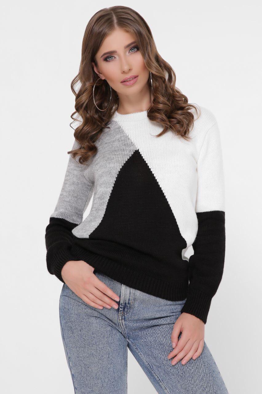 Трехцветный модный женский свитер 42-46 (в расцветках)