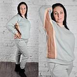 Женский теплый трикотажный костюм оверсайз фисташковый с цветными вставками (589), фото 2