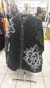 Женская курточка с вышивкой Турция Pompadur 52 - 62  р, черный