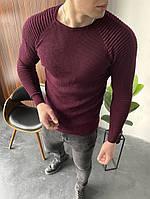 Свитер мужской тонкий весенний демисезонный Bright бордо | Кофта мужская весенняя вязанная крупной вязки ЛЮКС