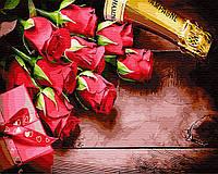 Картины по номерам 40×50 см. Подарок любимой. Шампанское и розы.