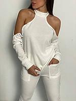Женский костюм с открытыми плечами : бежевый , молоко 42-44 46-48