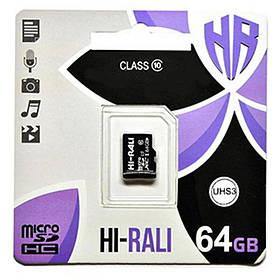 Карта пам'яті Hi-Rali microSDXC (UHS-3) 64 GB Card Class 10 без адаптера
