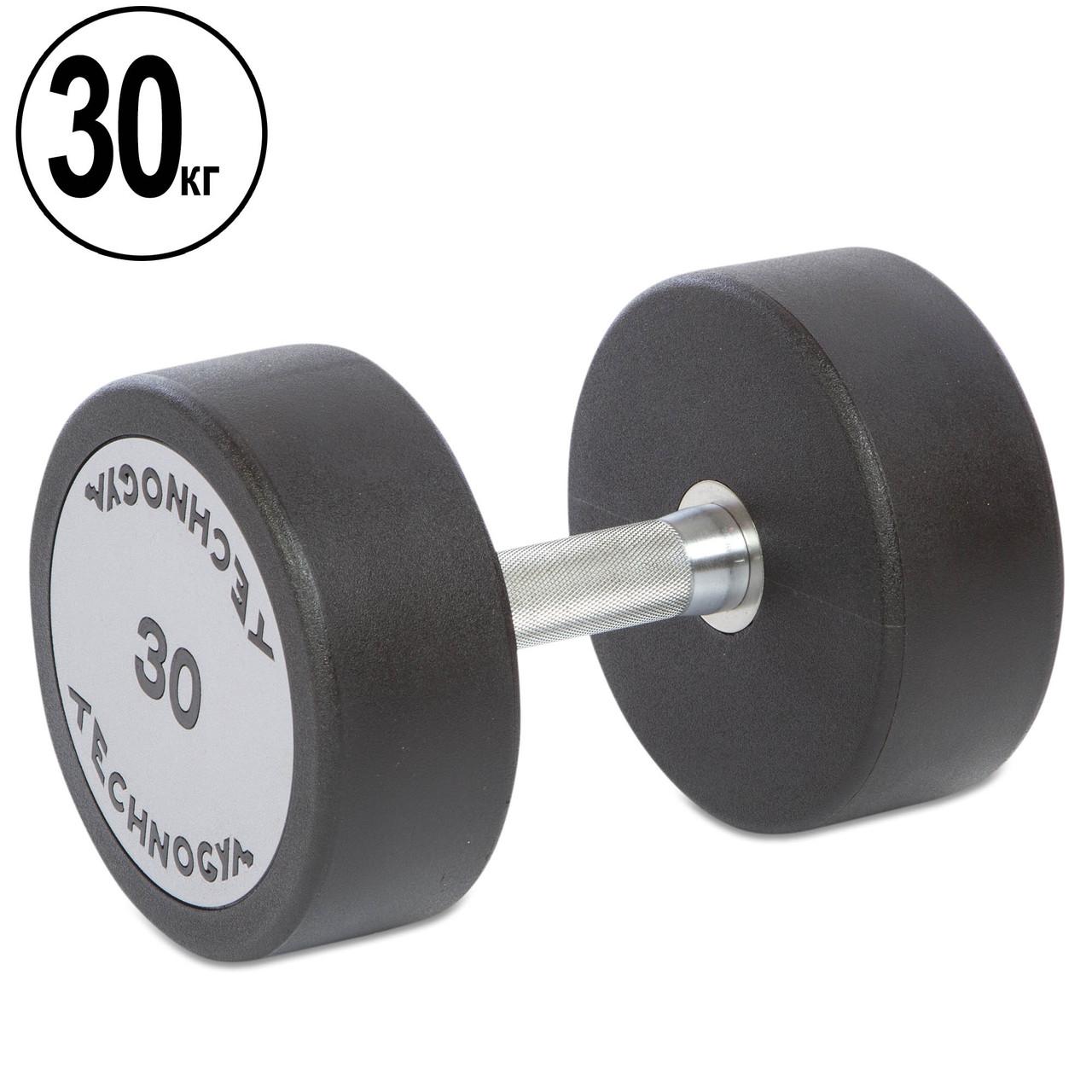 Гантель 30кг цельная профессиональная TECHNOGYM (1шт) (полиуретановое покрытие, вес 30кг)