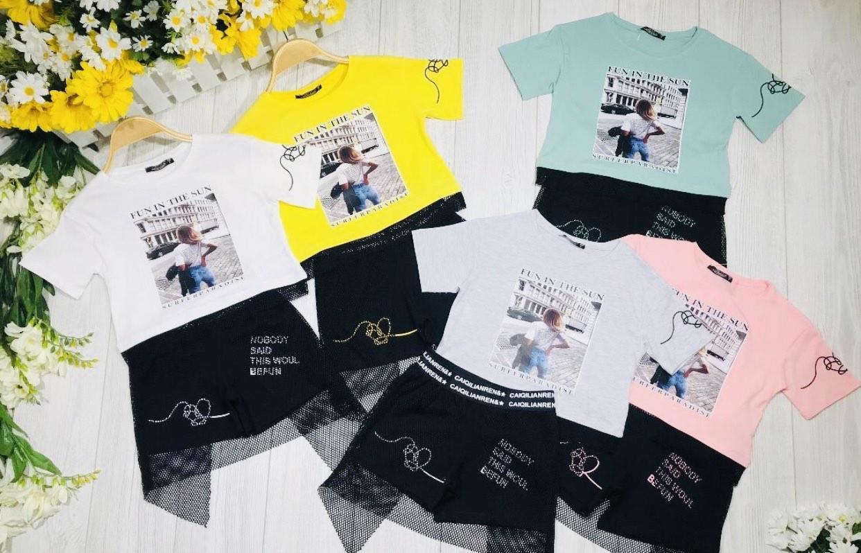 Комплект футболка и шорты для девочки р. 6-12 лет