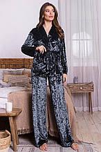 Женский домашний велюровый костюм Лючи темно-серого цвета свободного кроя