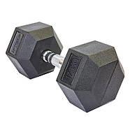 Гантель 17,5кг цельная шестигранная гексагональная ZELART (1шт) (сталь хромированная, резина, вес 17.5 кг), фото 2
