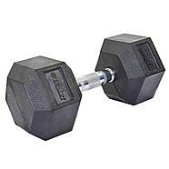 Гантель 17,5кг цельная шестигранная гексагональная ZELART (1шт) (сталь хромированная, резина, вес 17.5 кг), фото 3