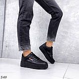 Кроссовки женские черные эко кожа, фото 3